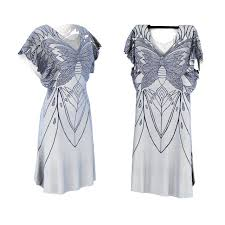 white and silver detailed silk dress with butterfly design 3d