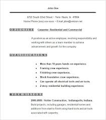 Sample Resume For A Job by Carpenter Resume Berathen Com