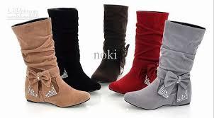 womens flat boots uk winter boots boots flat heel bow rhinestone mid faux