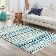 Area Rugs Outdoor Hooked Polypropylene Blue Green Outdoor Area Rug