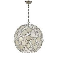 crystorama lighting group palla antique silver six light pendant