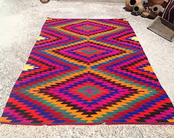 Bright Colored Area Rugs Stripped Rug Rustic Turkish Rug 9 U00273 X