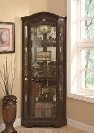 furniture tall corner dark brown wooden bar cabinet with glass