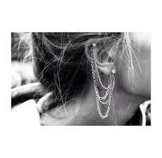 swag earrings jewels ear earrings bandw black cuff tumblrgrunge