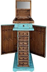 rustic jewelry armoire amazon com rustic western real wood jewelry chest with side door