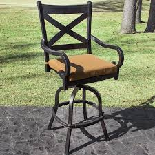 exterior wrought iron patio bar stool with swivel frame as well