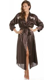 dressing gown womens chocolate brown satin kimono dressing gown