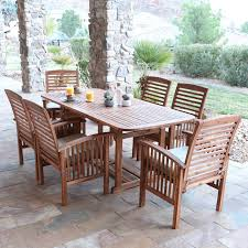Wooden Patio Dining Set Walker Edison Acacia Patio Dining Set With Cushions Seats 6