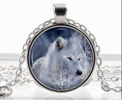 wolf necklace pendant images Polar white wolf necklace arctic wolf pendant fantasy animal jpeg