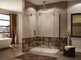 glass shower room with glass door connected with cream brown wall