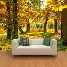 online buy wholesale autumn wall murals from china autumn wall custom mural wall paper 3d hd autumn maple leaf grove landscape wall painting living room non