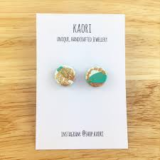 polymer clay stud earrings handcrafted polymer clay stud earrings in white and jade green