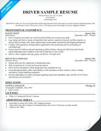 sample resume for driver delivery resume sample