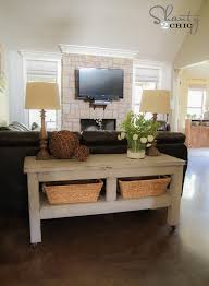 Upholstered Console Table Check Out My 80 Pottery Barn Inspired Console Table Shanty 2 Chic