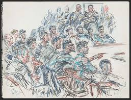 34 rare courtroom sketches from infamous trials where no cameras