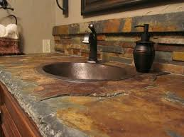 copper backsplash tiles kitchen surfaces pinterest i like gray slate better than brown slate but this is still a