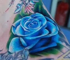 blue 3d rose tattoo 3d tattoos