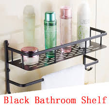 Black Bathroom Storage Single Tier European Bathroom Storage Rack Shelf Black Bathroom
