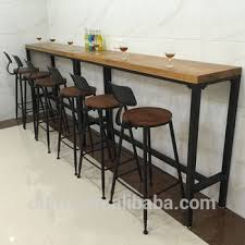 Narrow Bar Table Industrial Iron Furniture Commercial High Top Narrow Wood Bar