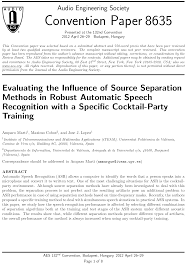 aes e library evaluating the influence of source separation