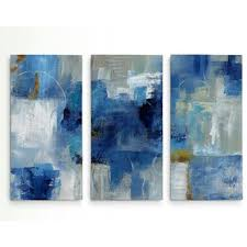 blue and white painting 3 piece wall art you ll love wayfair