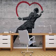 banksy graffiti concrete wall wall paper mural buy at europosters banksy graffiti concrete wall wallpaper mural facebook google pinterest price from