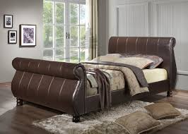 Double Faux Leather Bed Frame by Marseille Brown Faux Leather Bed In Sizes 4ft6 Double 5ft King Or