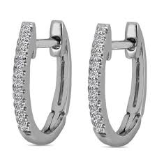 children s hoop earrings aalilly 10k white gold children s diamond accent oval hoop
