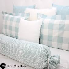spa blue farmhouse gingham buffalo check custom designer bed