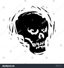 halloween skull with candle background rough woodcut illustration halloween skull stock vector 86977946