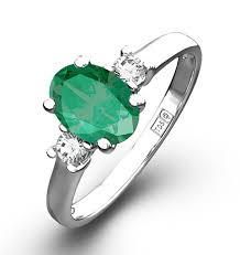 emerald rings uk emerald 0 75ct and diamond 18k white gold ring item n4316y