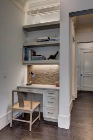 Small Built In Desk Transitional Office Design Home Office Transitional With Open
