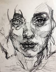 drawing created using charcoal continuous line drawing capturing