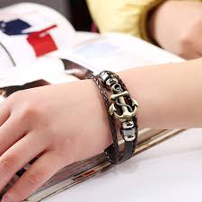 leather bracelet with anchor images Fashion jewelry anchor alloy leather bracelet men casual jpeg