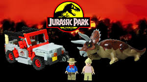 lego jurassic world jeep lego jurassic park triceratops encounter cuusoo project youtube