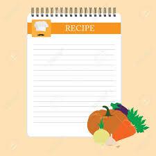 fiche cuisine fiche recette cuisine note modèle vierge raster illustration