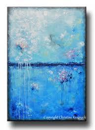 original art blue abstract painting aqua blue textured modern