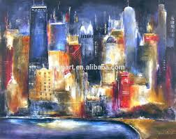 blue modern art styles famous painters paintings city buildings