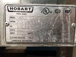 Commercial Hobart Dishwasher Used Hobart 480 Volt Am 15 High Temperature Single Dishwasher W