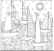 rug hook paper pattern 5 sailboats u0026 a bird folk art abstract