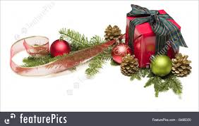 present with ribbon pinecones and ornaments image