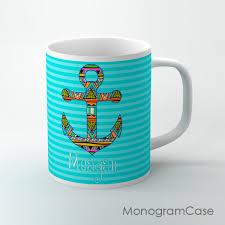 coffee mug aztec anchor blue stripes coffee mug monogramcase