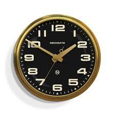 Wall Watch by Large Brass Retro Wall Clock Black Dial Newgate Clocks Brixton
