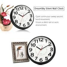 silent wall clocks amazon com dreamsky 13 inch large wall clock non ticking silent