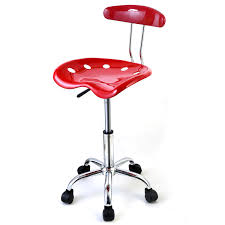 furniture red glossy pierced swivel tractor seat stool with four