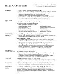 Software Engineer Resume Templates Resume Examples Templates Mechanical Engineering Resume Examples