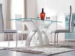 White Glass Kitchen Table by Furniture Cool Modern Round Glass Dining Table Photo Ideas Model