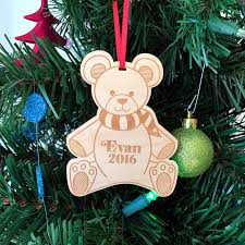christmas teddy bear penguin ornament wooden ornament handmade