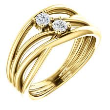 gold stone rings images 14kt gold free form twist 2 stone diamond ring wedding bands co jpg