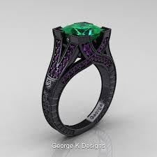 black and purple engagement rings modern vintage 14k black gold 3 0 ct princess emerald amethyst